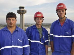 Operários das obras de Viracopos (Foto: Leandro Filippi / G1)