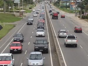 trânsito florianópolis saco grande (Foto: Thomas Braga/RBS TV)