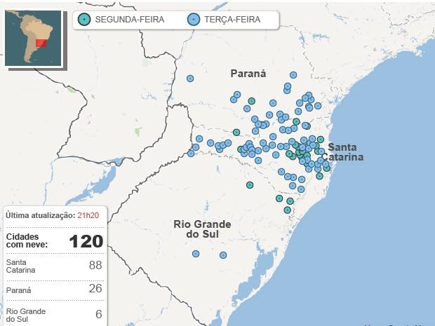 Neve no Brasil mapa 23.7 21h25 (Foto: Editoria de Arte/G1)