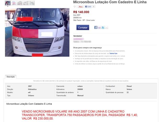 Anúncio de venda de micro-ônibus que opera na Zona Leste, em São Paulo; veículo com a linha sai por até R$ 296 mil (Foto: Reprodução)