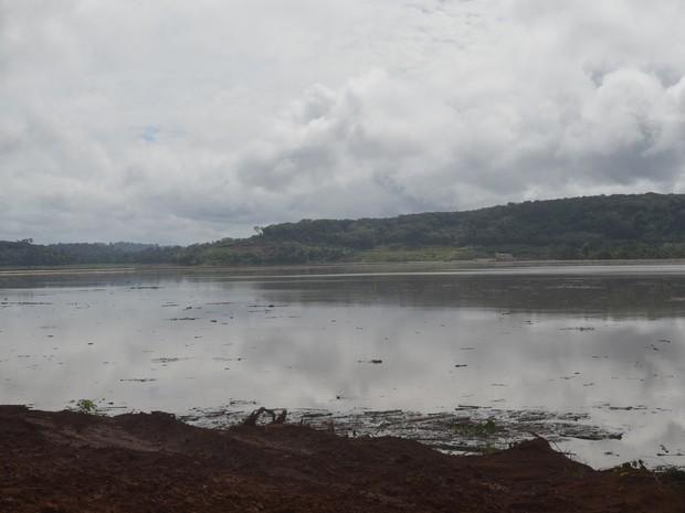 Área inunda pelo rio Jari, após rompimento da braçadeira (Foto: John Pacheco/G1)
