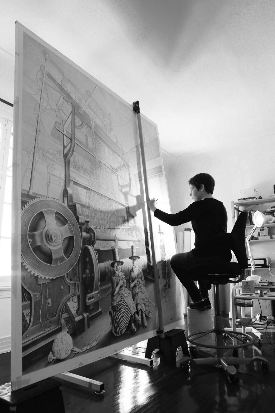 Laurie Lipton pintando em seu estúdio. (Foto: Reprodução)