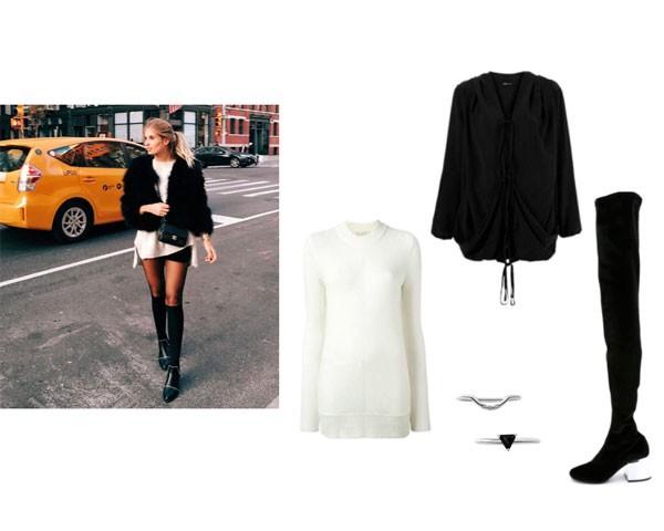 Nova York:  tricô Michael Michael Kors; casaco UMA Raquel Davidowicz; botas MM6 Maison Margiela; aneis Ana Satti  (Foto: Instagram)