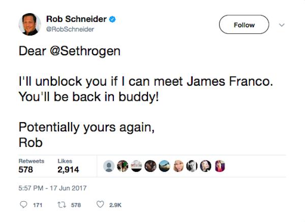 O ator Rob Schneider dizendo que iria desbloquear Seth Rogen caso fosse apresentado a James Franco (Foto: Instagram)