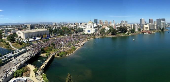 Desfile do Golden State Warriors em Oakland (Foto: Jake Lawrence/Getty Images)