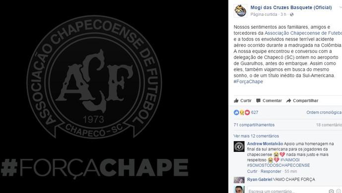 Mensagem Mogi das Cruzes basquete Chapecoense (Foto: Reprodução/Facebook)