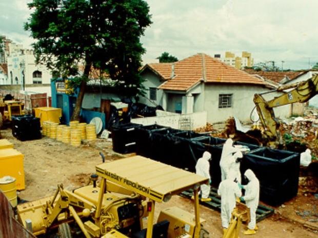 Residência onde o equipamento com Césio-137 foi aberto  (Foto: Divulgação/Cnen)