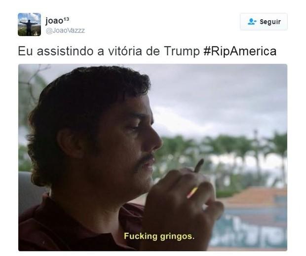Meme sobre a vitória de Trump nos EUA (Foto: Twitter / Reprodução)