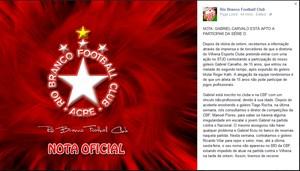 Rio Branco emite nota para esclarecer escalação de goleiro de 15 anos (Foto: Reprodução/Facebook)