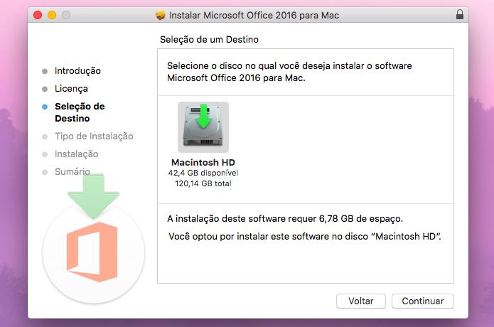 Escolha onde deseja instalar o Office 2016 (Foto: Reprodução/Helito Bijora)