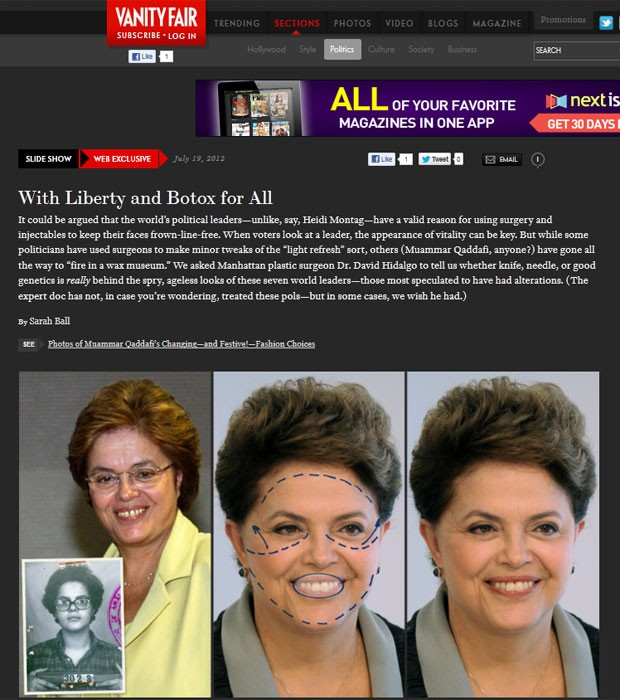 Revista Vanity Fair apontou procedimentos estéticos que teriam sido feitos por Dilma (Foto: Reprodução)