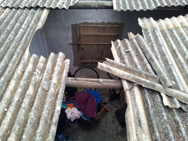 Vaca caiu sobre a casa do homem, que morreu um dia depois (Foto: Edson Simões/VC no G1)