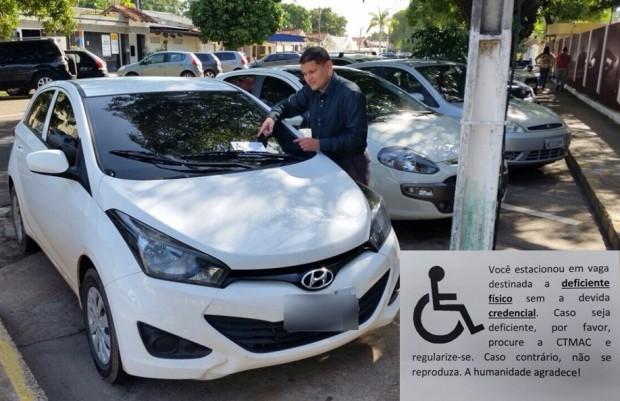 Teófilo deixa mensagem informando que motorista está cometendo infração (Foto: Cassio Albuquerque/G1)