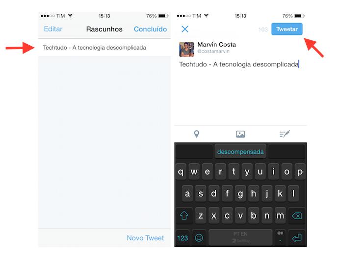 Acessando e utilizando um tuíte salvo em rascunho no Twitter para iOS (Foto: Reprodução/Marvin Costa)