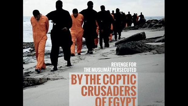 Imagem de revista ligada ao Estado Islâmico supostamente mostra alguns dos reféns cristãos egípcios, sequestrados na Líbia (Foto: Reprodução/Twitter/VictorSalama)
