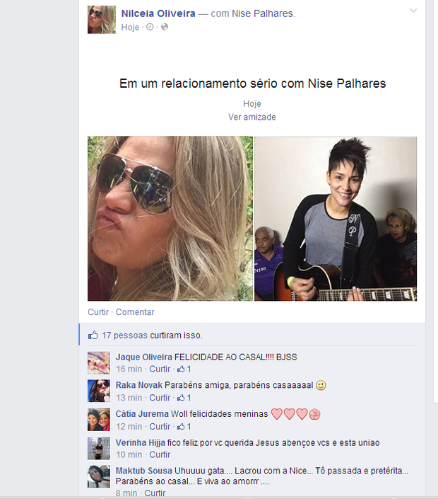 Nilceia, ex de Thammy, em novo relacionamento (Foto: Reprodução/Facebook)