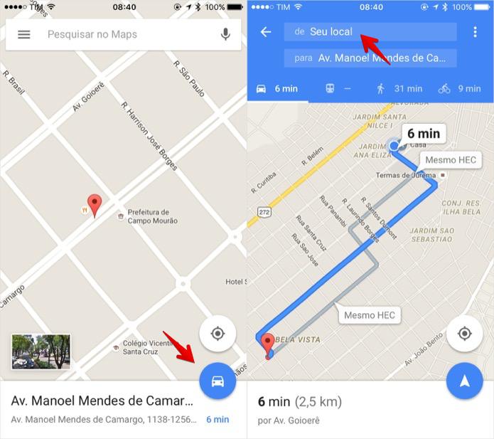 Criando rota no Google Maps pelo celular (Foto: Reprodução/Helito Bijora)