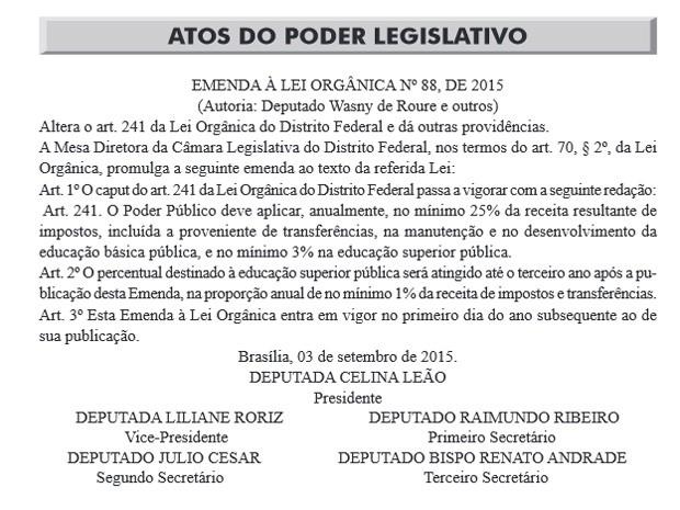 Trecho do Diário Oficial com promulgação de alteração em lei  (Foto: Diário Oficial do DF/Reprodução)