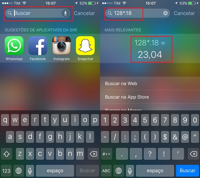 Use a barra de pesquisa para  fazer cálculos no iOS 9 (Foto: Reprodução/Juliana Pixinine)