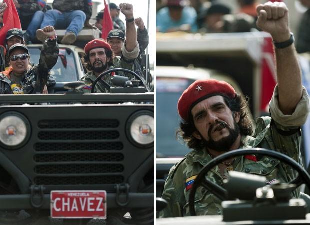 Homem vestico como Che Guevara acena durante campanha de Maduro (Foto: Raul Arboleda/AFP)