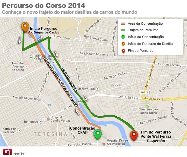 Percurso do Corso de Teresina deve iniciar na Av. Duque de Caxias, passar pela Ponte da Primavera e Av.Raul Lopes (Foto: Arte/G1 Piauí)