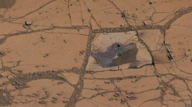Curiosity explora atualmente uma montanha em Marte (Foto: Nasa/BBC)