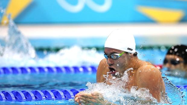 Thiago Pereira na prova de natação 200m medley em Londres (Foto: Satiro Sodré / Agif)