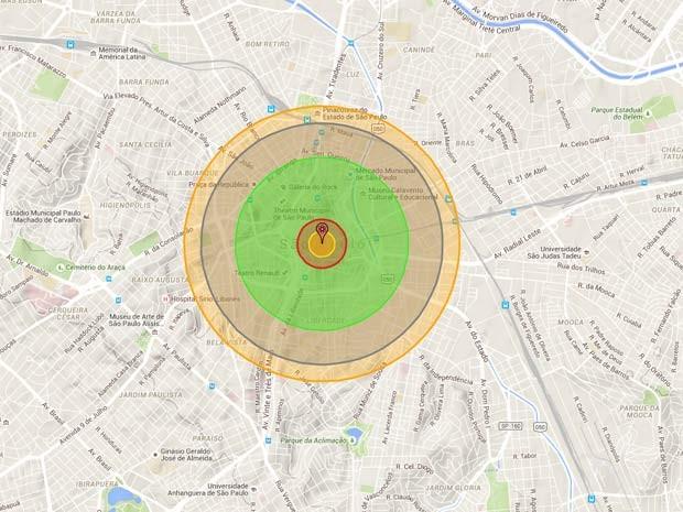 Simulação de bomba de Hiroshima detonada em São Paulo pode ser feita pelo aplicativo Nukemap (Foto: Reprodução/ NukeMap)