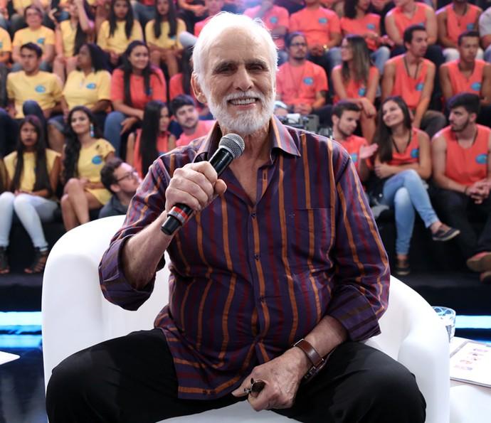 Francisco Cuoco durante a gravação do Domingão (Foto: Carol Caminha/Gshow)
