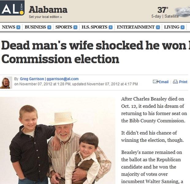Charles Beasley foi eleito coletor de impostos em Orlando mesmo tendo  morrido em outubro (Foto 633c2b72e2