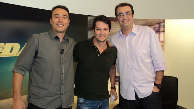 André Rizek, Marcelo Serrado e Éboli no redação (Foto: Reprodução SporTV)
