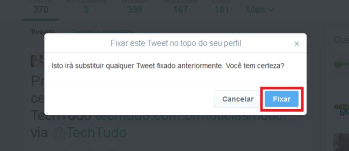 Concluindo a fixação do tuíte no topo do perfil (Foto: Reprodução/Lívia Dâmaso)