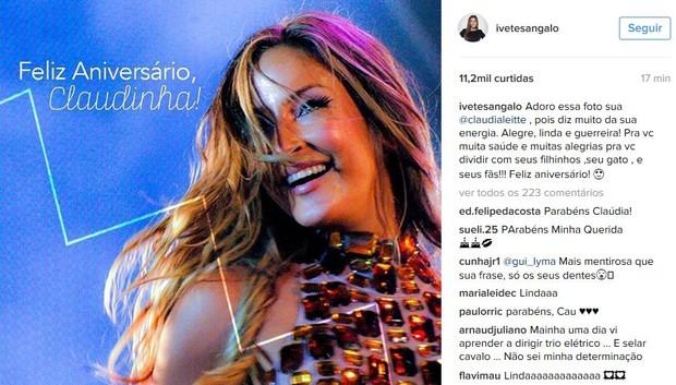 Ivete sangalo deseja parabéns para Claudia Leitte (Foto: Instagram / Reprodução)