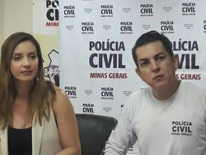 Delegada Karine Maia durante coletiva (Foto: Polícia Civil/Divulgação)