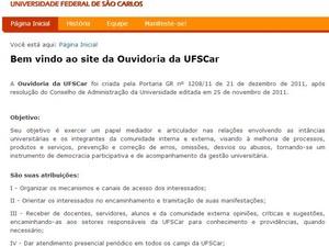 Calouros da UFSCar podem denunciar abuso contra trotes pela internet (Foto: Reprodução/ Site UFSCar)