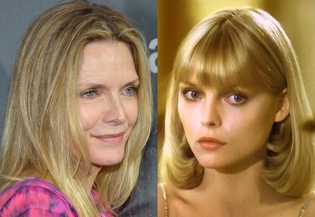 Michelle Pfeiffer atualmente e em 1983, em 'Scarface' (Foto: Charles Gallay/Getty Images e Reprodução)