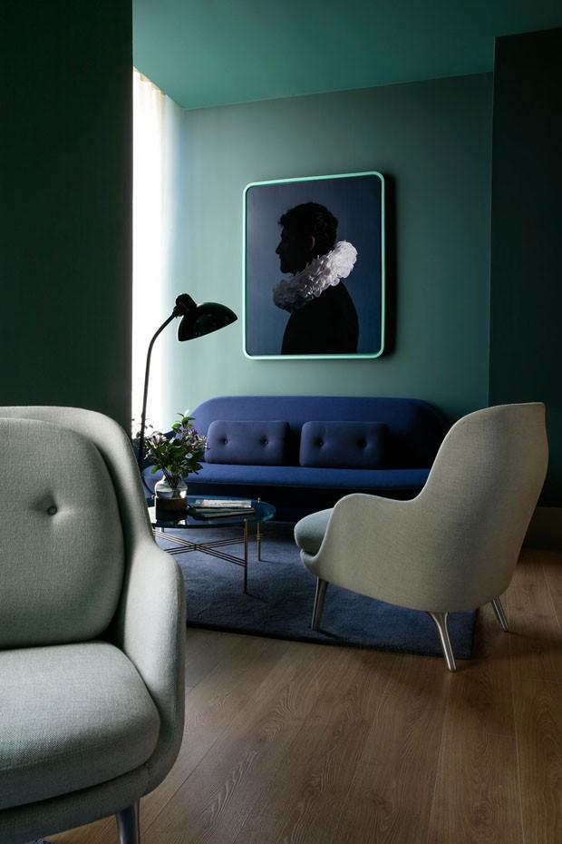 Décor do dia: Azul com requinte na sala de estar (Foto: KlunderBie)