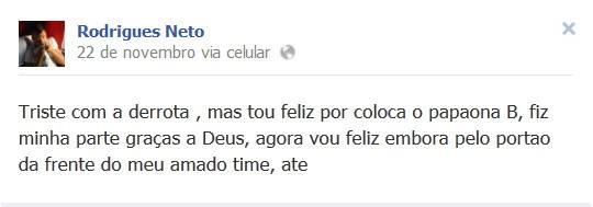 Neto se despede do Paysandu através da rede social (Foto: Reprodução/ Facebook)