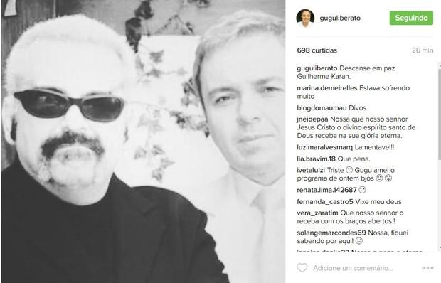 Gugu lamenta morte de Guilherme Karan (Foto: Reprodução / Instagram)