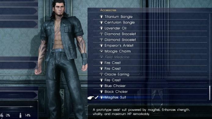 Final Fantasy XV: equipe o acessório para melhorar seus atributos (Foto: Reprodução/Thomas Schulze)