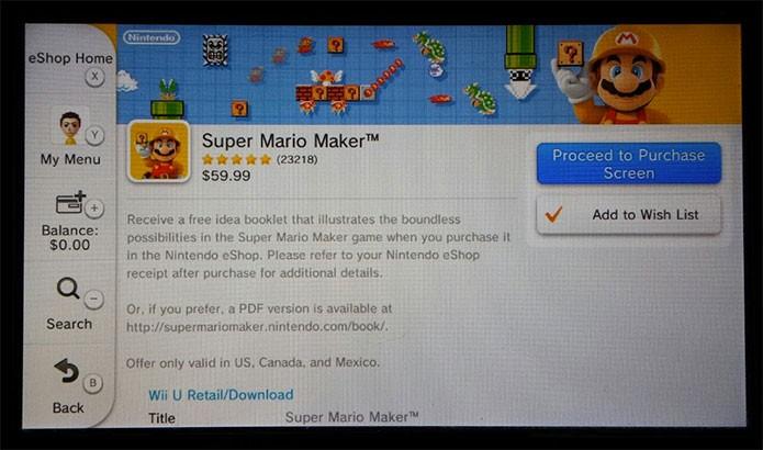 Como comprar Super Mario Maker no Wii U (Foto: Reprodução/Felipe Vinha)