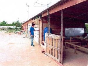 Refetório dos trabalhadores não tinha paredes (Foto: Divulgação/ MP-MA)