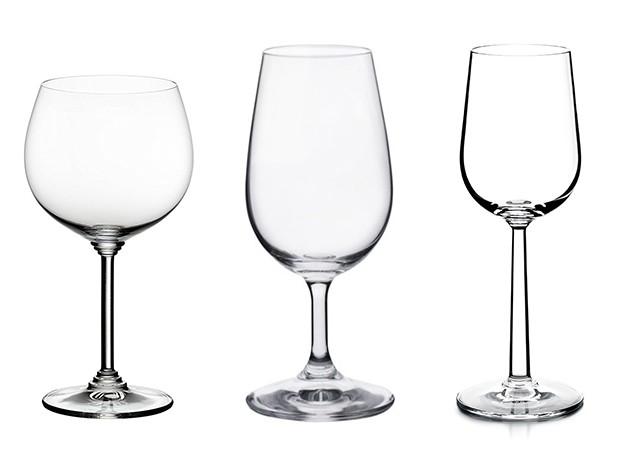 Da esquerda para a direita: taças Borgonha, ISO e para vinhos doces (Foto: Divulgação)