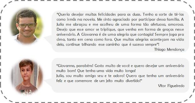 Atores de 'Em Família' fazem homenagem para Julia e Giovanna (Foto: Vídeo Show / TV Globo)