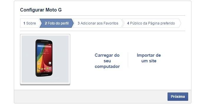 Etapa de carregamento da foto do perfil da página (Foto: Reprodução/ Raquel Freire)