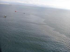Mancha de óleo foi fotografada  (Foto: Polícia Civil/Divulgação)
