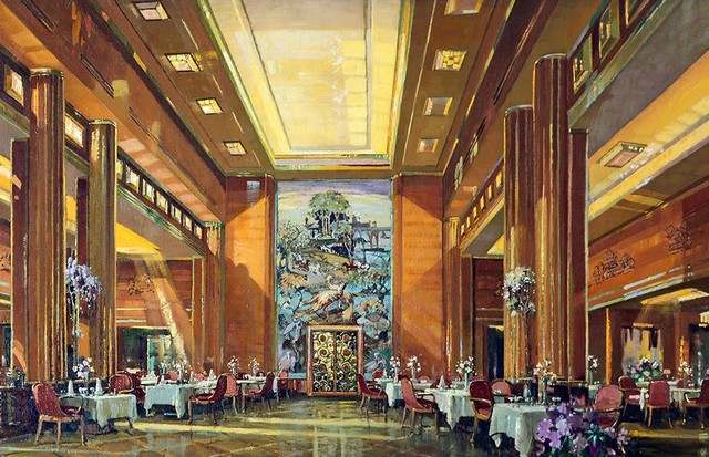 Detail of a sketch of the first-class dining-room on the Queen Mary, by Herbert Davis Richter, 1936 (Foto: WILLIAMSON ART GALLERY AND MUSEUM)
