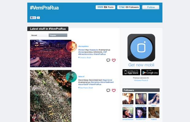 Aplicativo Mobli tem mais de 3 mil imagens com a hashtag #VemPraRua (Foto: Divulgação/Mobli)