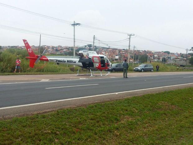 Helicóptero da PM socorreu motorista ao Hospital Estadual de Sumaré (Foto: Gustavo Turatti Paula)