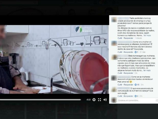 Vídeo foi criticado por internautas na página oficial da Assembleia (Foto: Reprodução/Facebook/Assembleia Legislativa do Estado de Roraima)